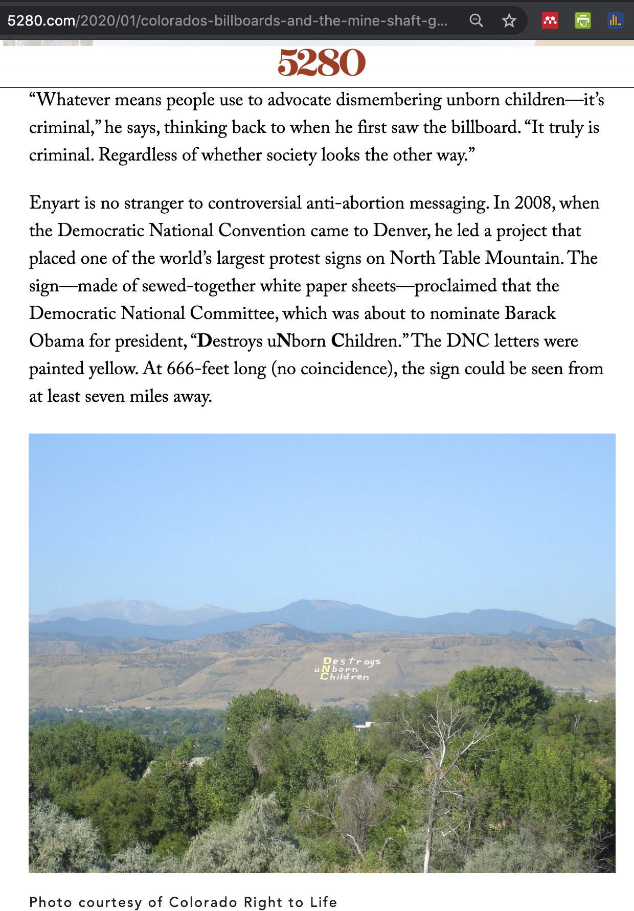 5280 Magazine reports on CRTL's anti-abortion billboards and our sign on the mountain...