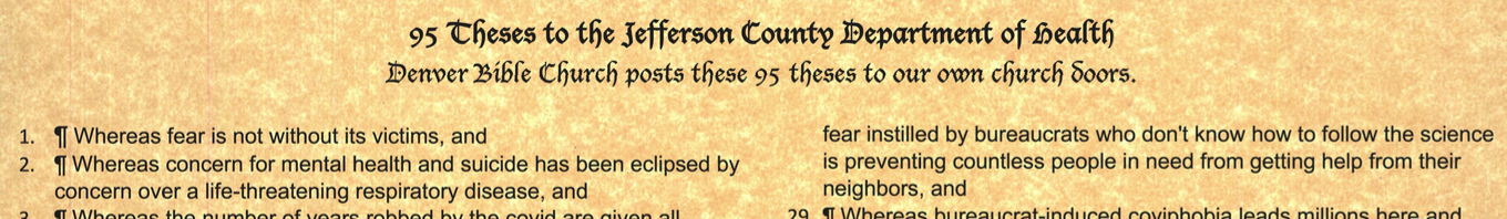 95 Theses on covid from Denver Bible Church to Jeffco Health Deptartment