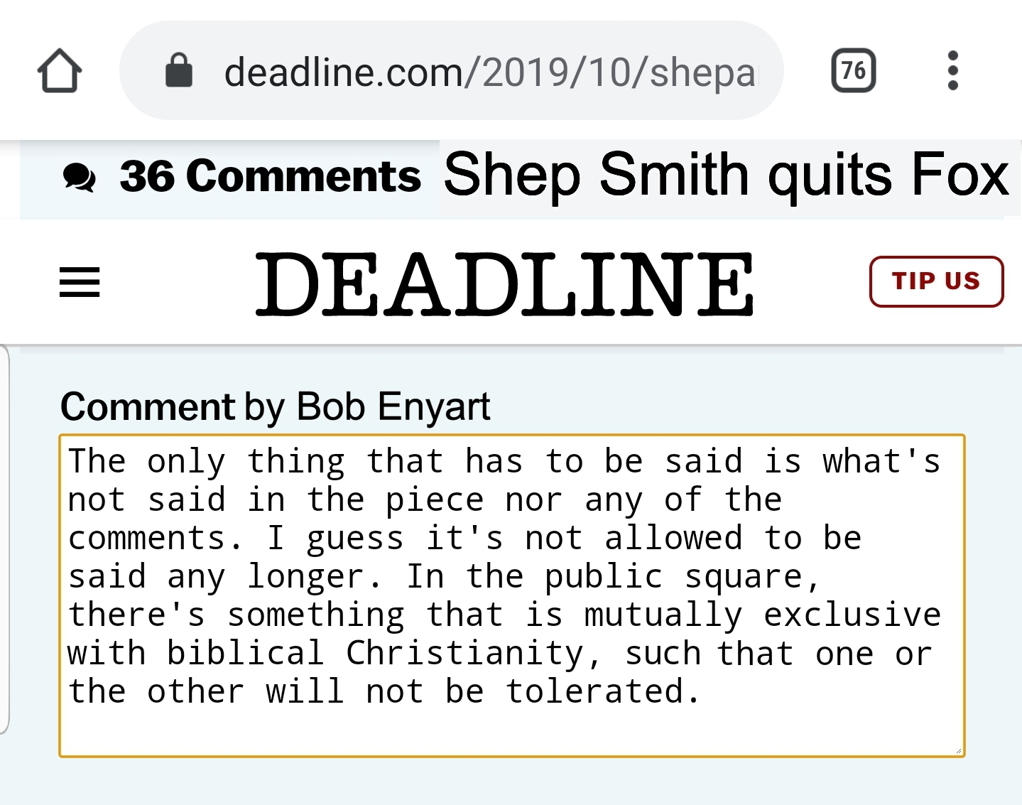 Enyart's comment on Deadline's report on Shepard Smith leaving Fox News Channel