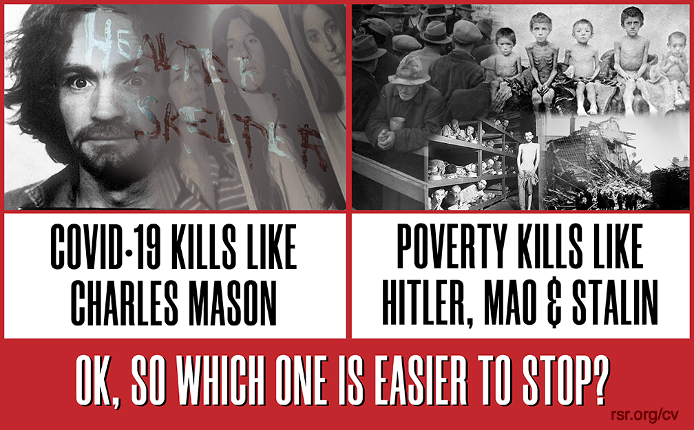 Graphic depicting the idea that COVID kills like Manson; the shutdown kills like Stalin