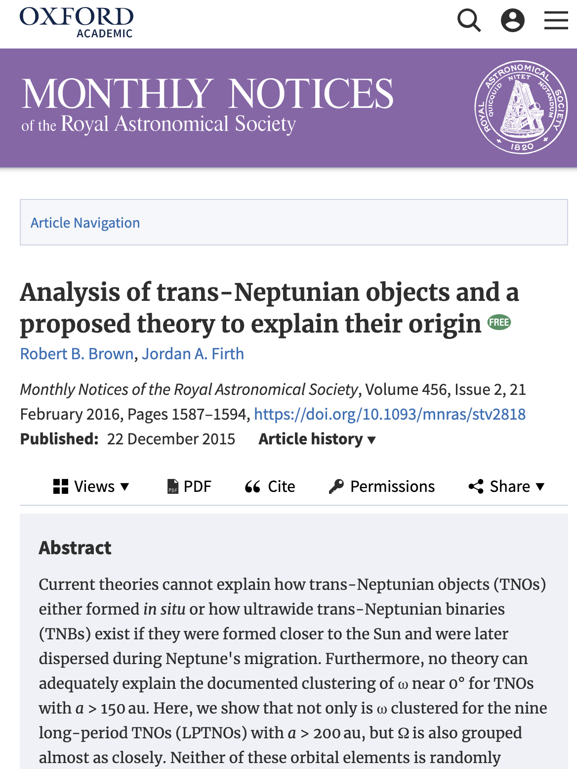 2015, MNRAS, Analysis of trans-Neptunian objects and a proposed theory to explain their origin