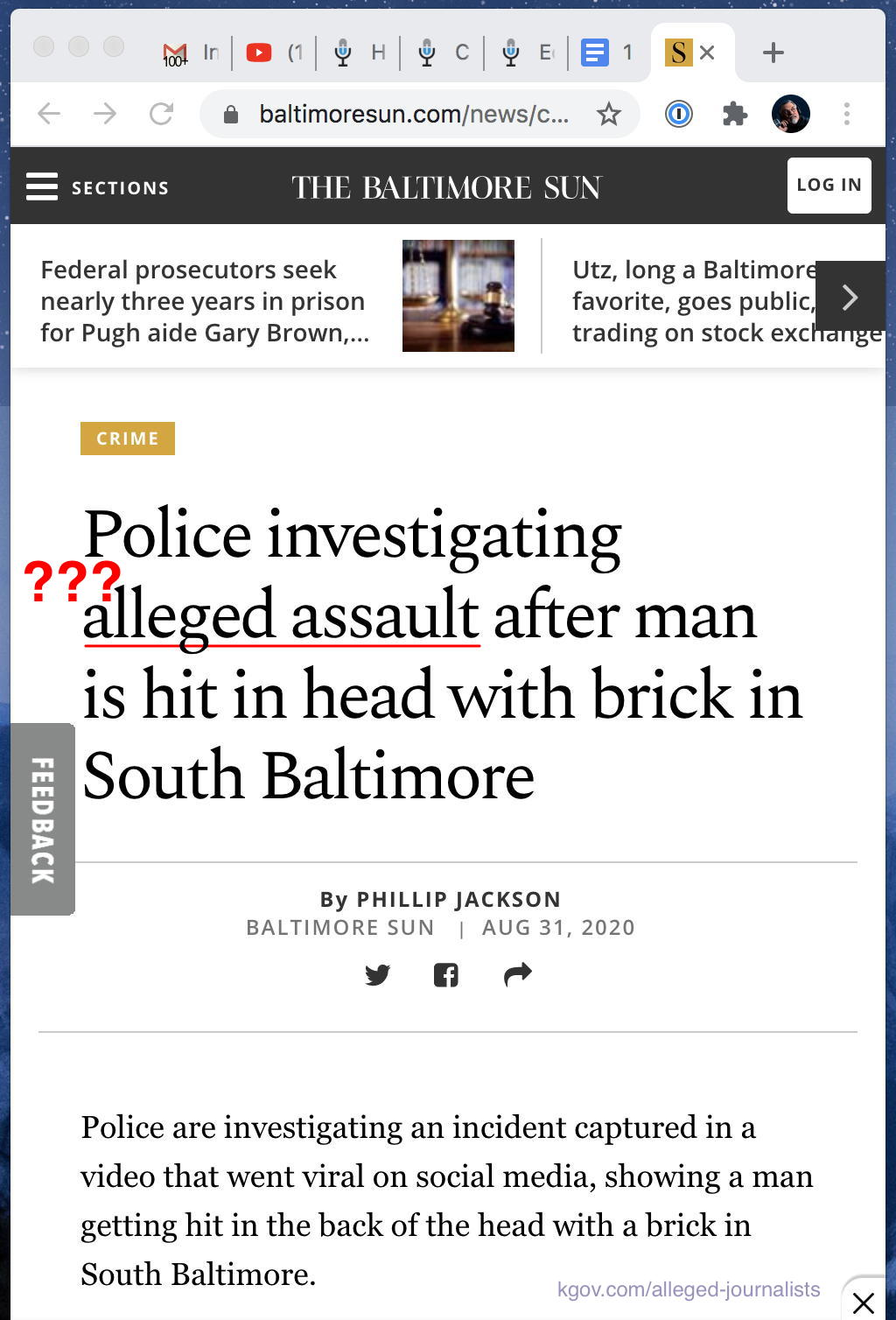 "Alleged journalists at the Baltimore Sun refer to a viral video crime as an ""alleged"" assault"