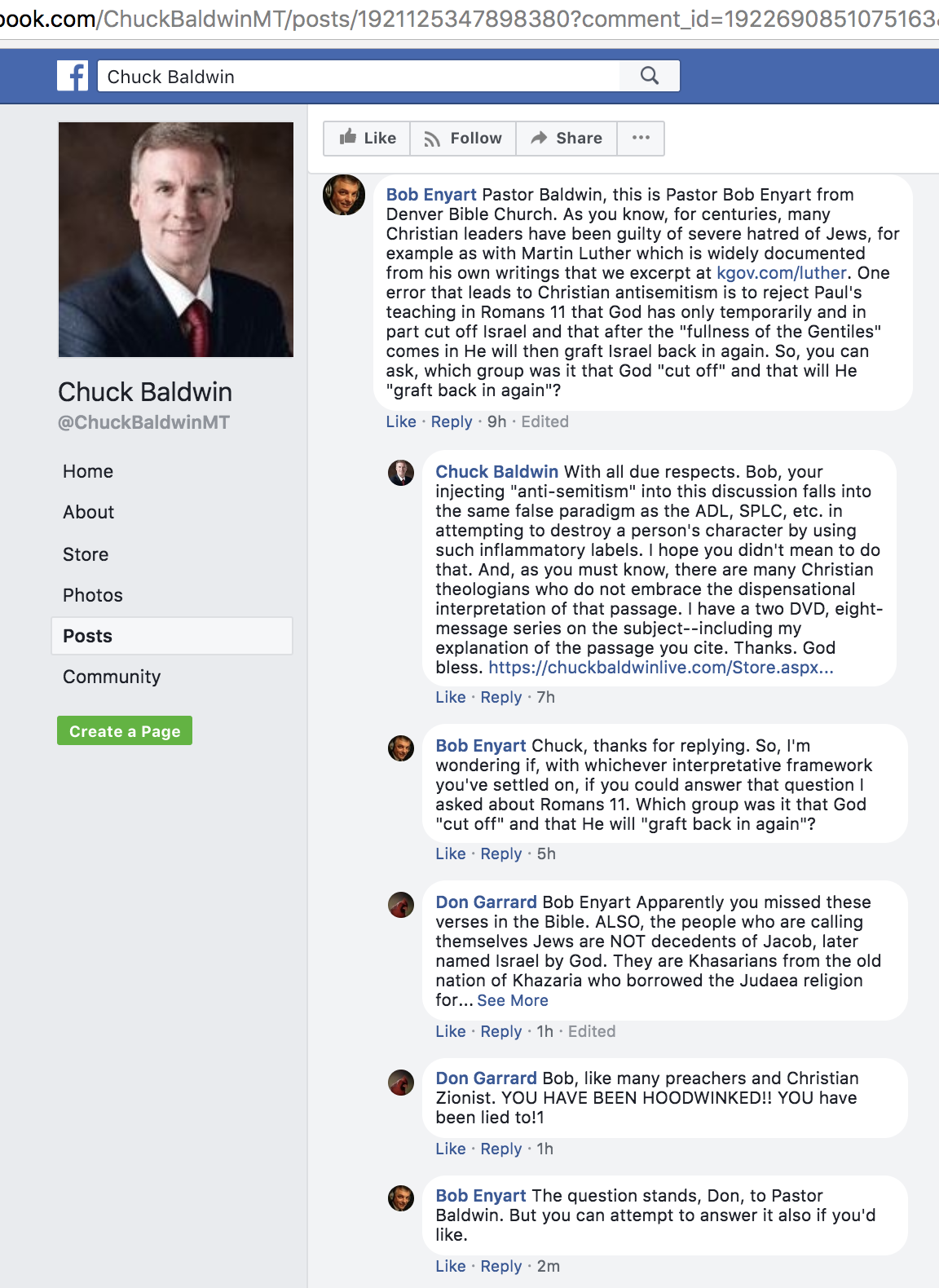 Facebook screenshot of Enyart's thread with anti-Semite Chuck Baldwin