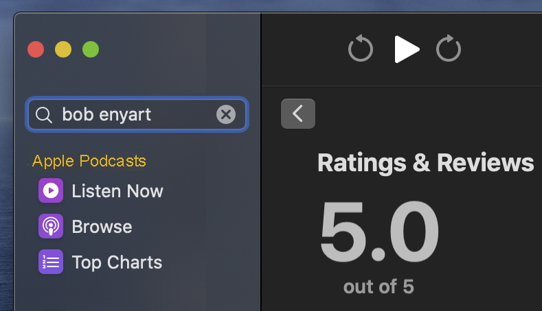 Apple Podcast current rating for Bob Enyart Live: 5.0 stars out of 5!