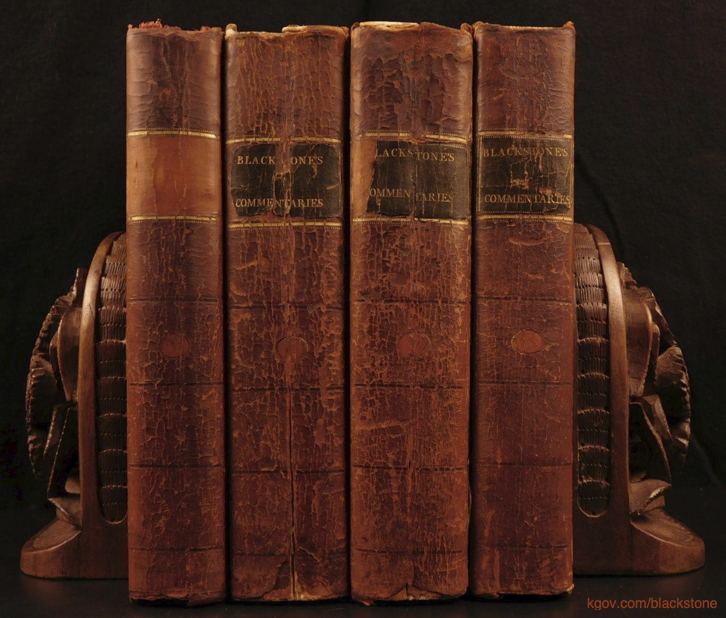 Blackstone's commentaries on law in four volumes