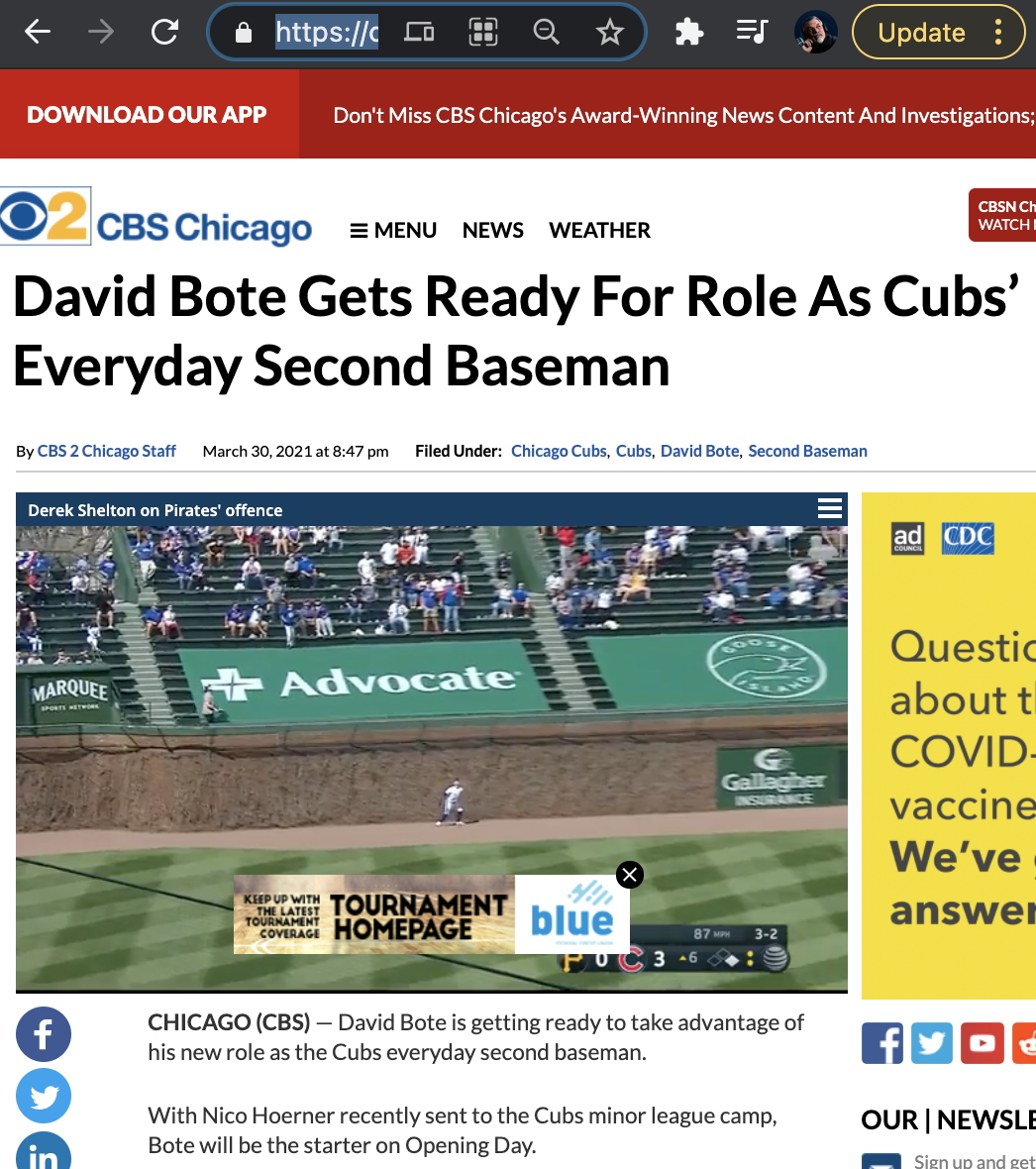 David Bote Chicago Cubs everyday Second Baseman, 3/30/21 CBS2