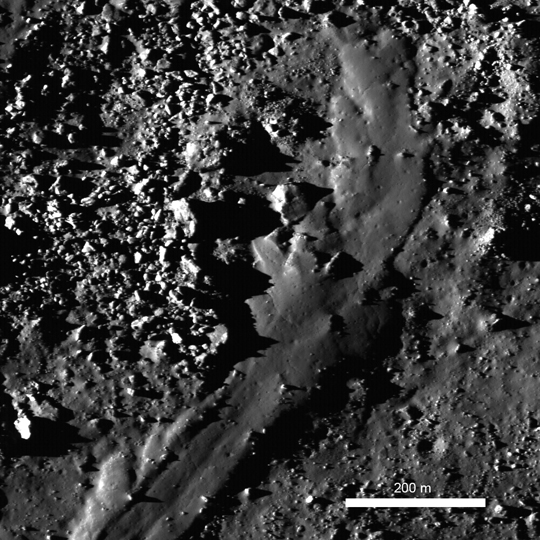 Allegely 48 million year old impact melt flow from lunar crater Byrgius A
