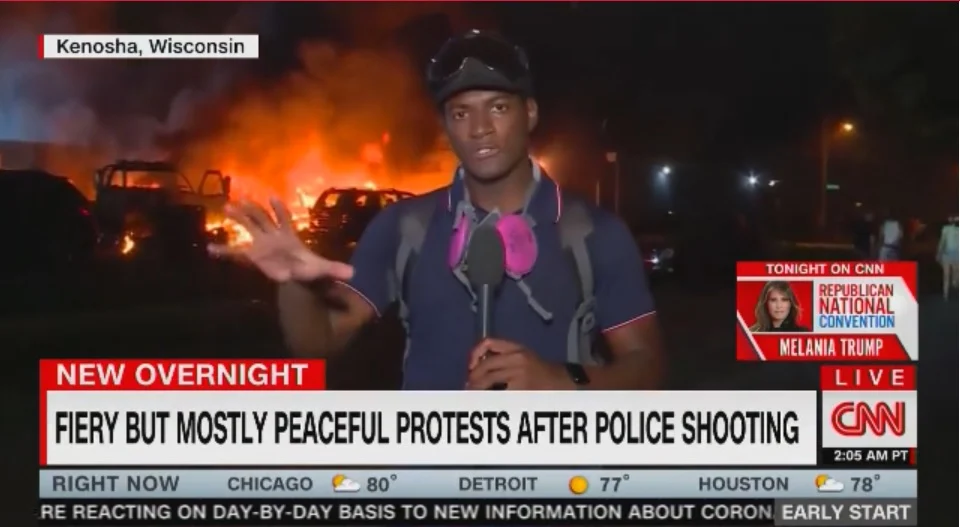 CNN fake news Kenosha protests fiery but mostly peaceful