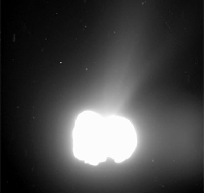 Comet 67P outgassing. Photo European Space Agency.