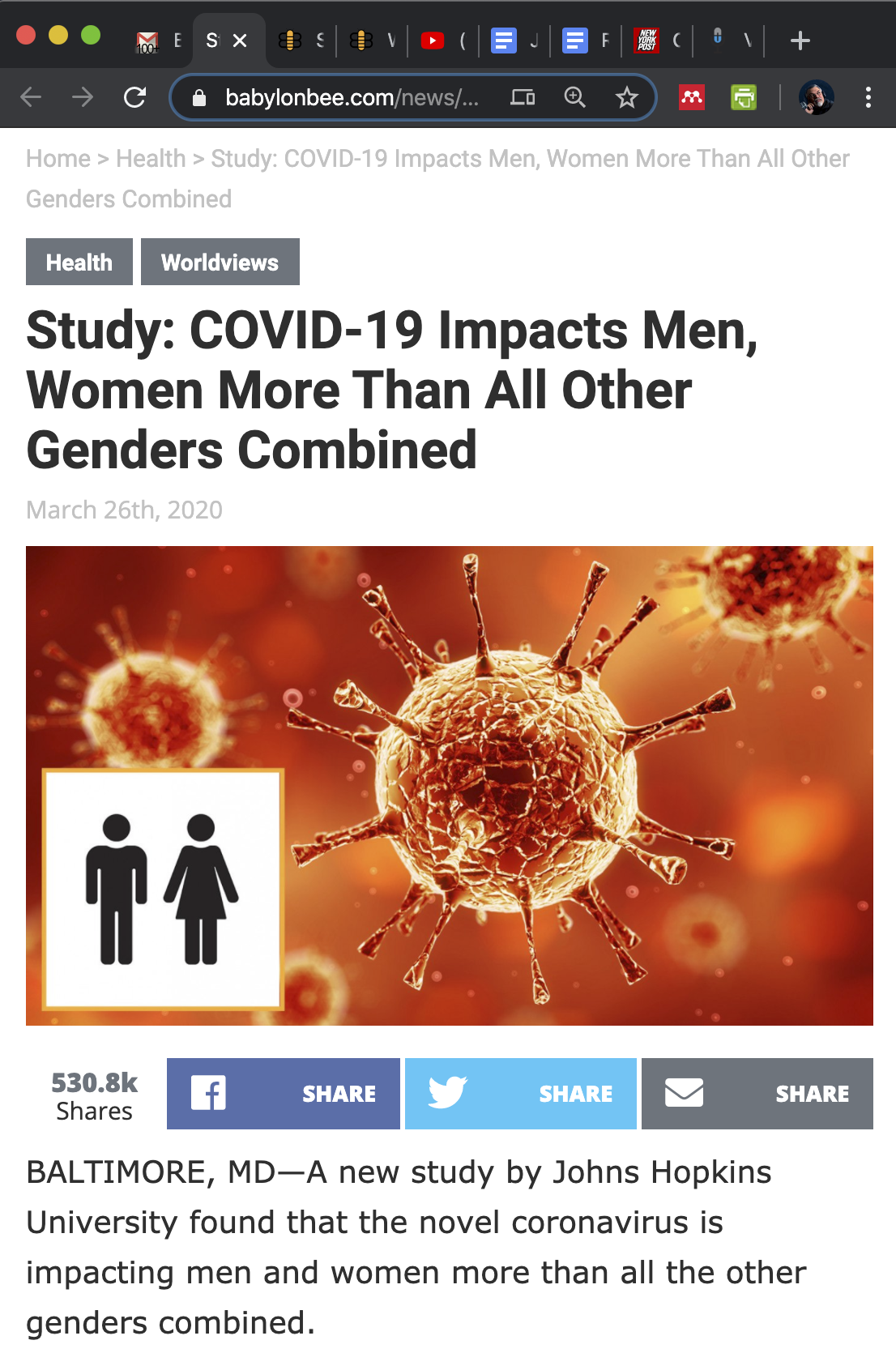 Babylon Bee: Coronavirus impacts men, women more than all other genders combined