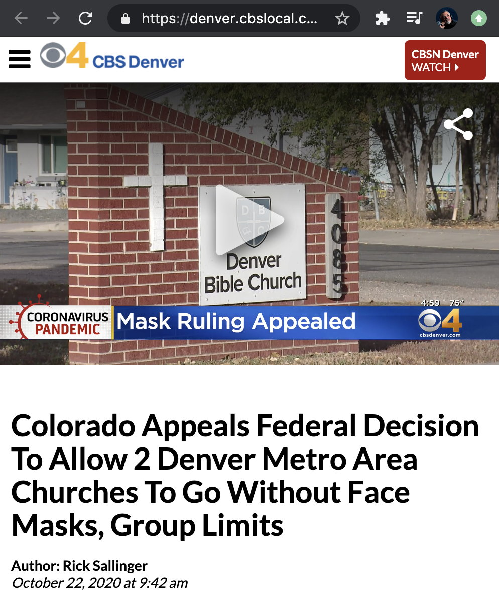 Pastor Bob's covid restrictions lawsuit reported by CBS News 4.