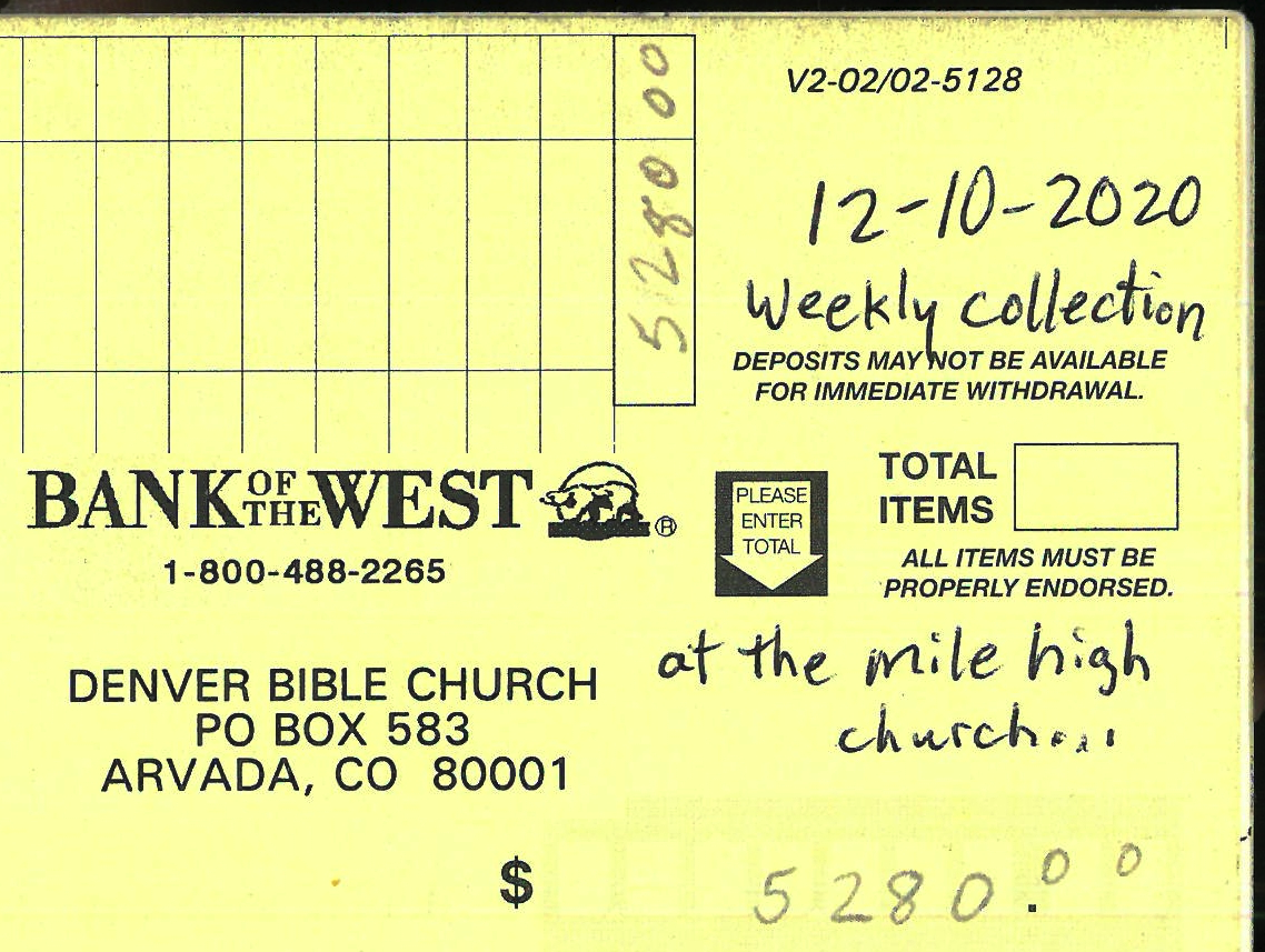 Denver Bible Church mile-high deposit
