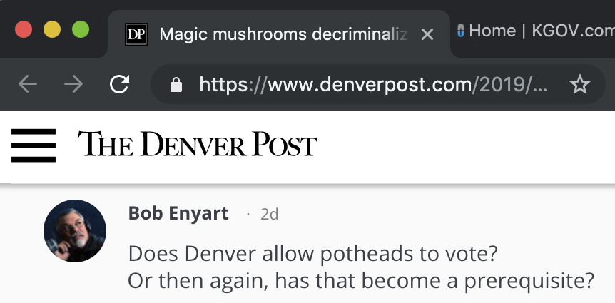 Denver Post article not condemning psychedelic mushrooms: BE comments