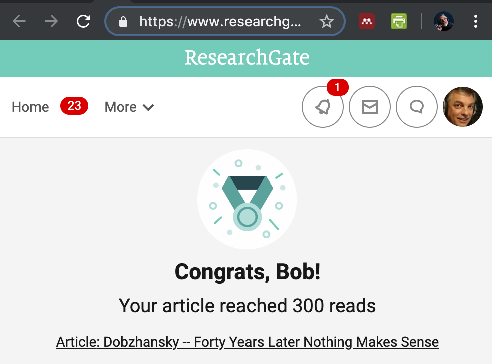 Scientists can also finding Bob's Dobzhansky paper at researchgate.com, 300 so far...