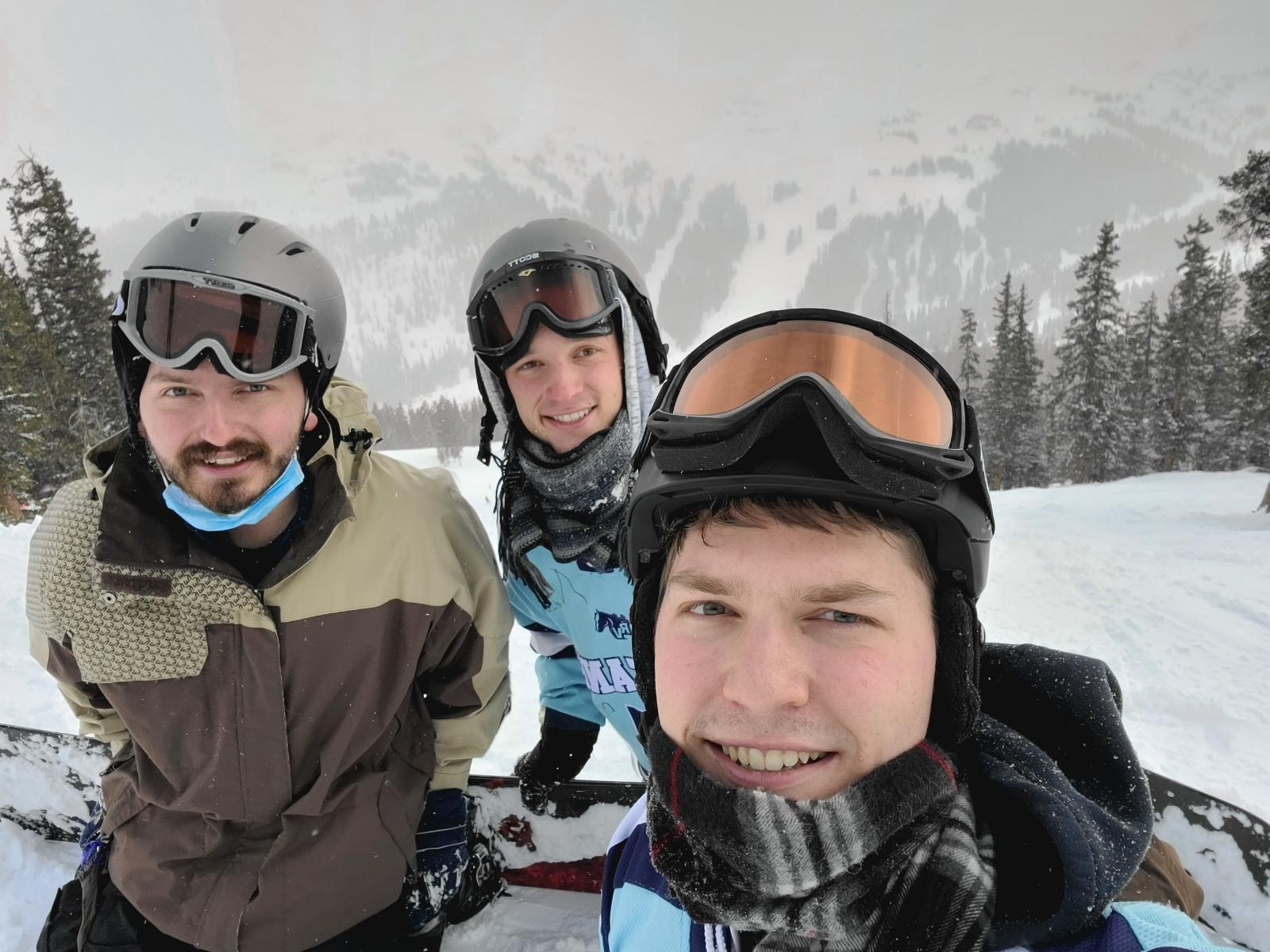 Dom, center, boarding with his brothers 1/16/21