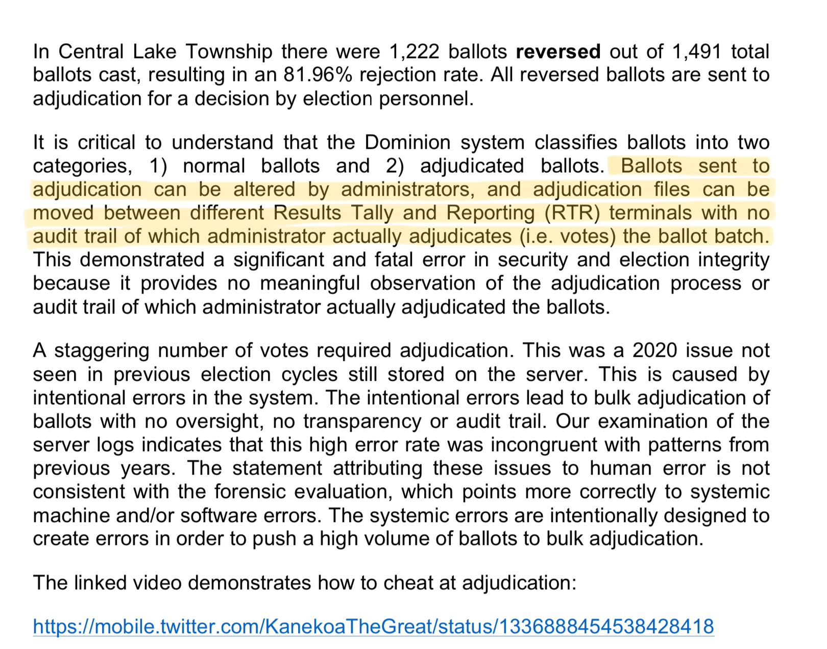 Dominion Voting example of cheating from Central Lake Township...