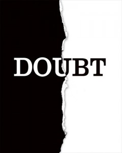 black and white graphic illustration of the word doubt