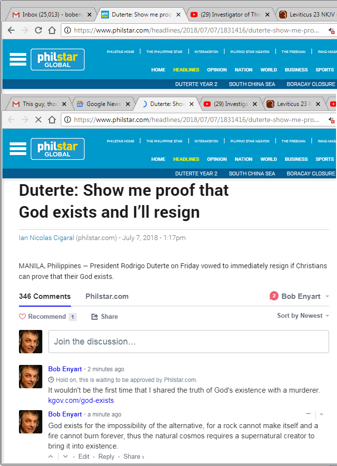 Philippines' president Duterte (do-thirty) says he'll resign if shown that God exists; screenshot of Enyart's replies