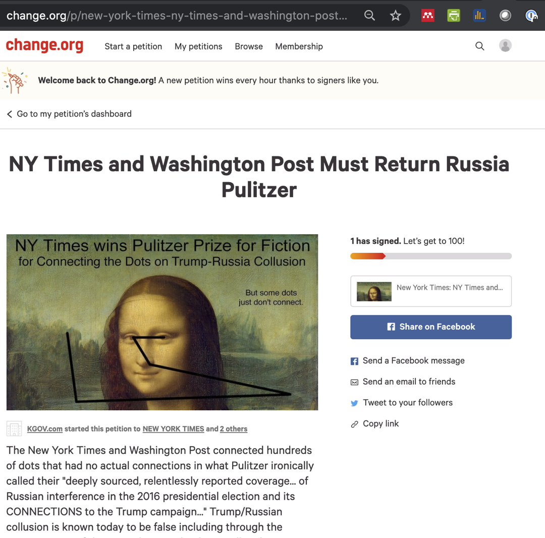 Bob Enyart's Change.org Petition for Pulitzer to Rescind the Russia Collusion Prize to the Times and the Post