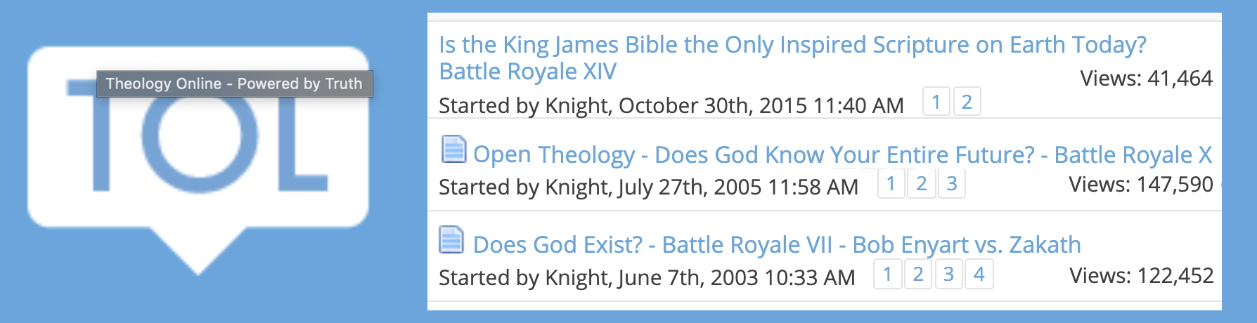 Screenshot of Enyart debates on TheologyOnline with numbers of views