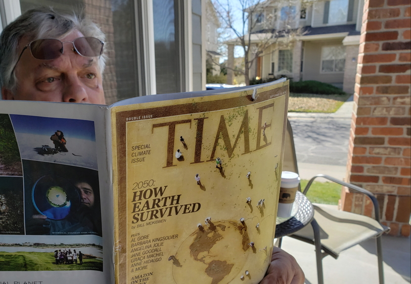Bob Enyart reading Time magazine's 2019 global warming edition