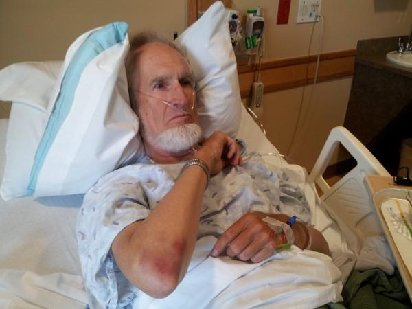 Everett Stadig in hospital with injuries after being assaulted by William Costello, a Democrat operative serial-rapist pro-abortion activist
