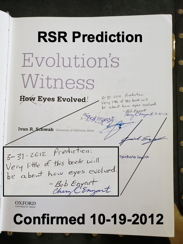 Photo of Enyart's prediction written on Evolution's Witness title page that this will be only an anatomy book that has virtually nothing to say about the origin of vision
