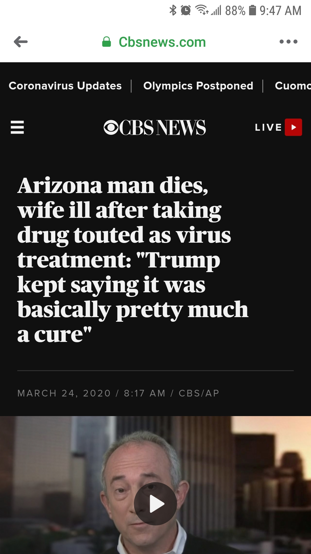 "CBS' Fake News on chloroquine ""drug"" that was actually a cleaning product."