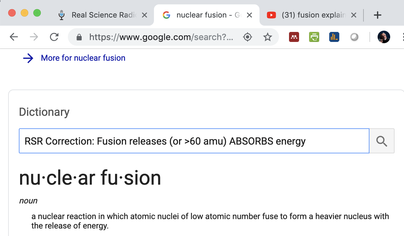Screenshot of Google erroneously simplifying nuclear fusion; others do this too...
