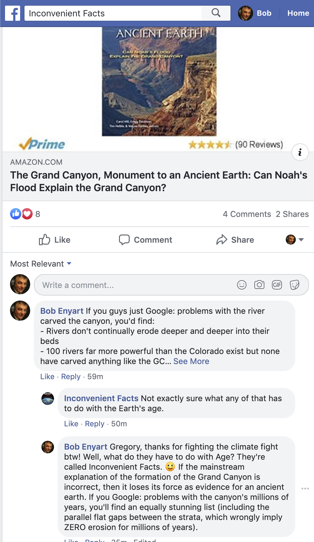 Gregory Wrightstone posts Grand Canyon Monument to an Ancient Earth, and RSR comments...