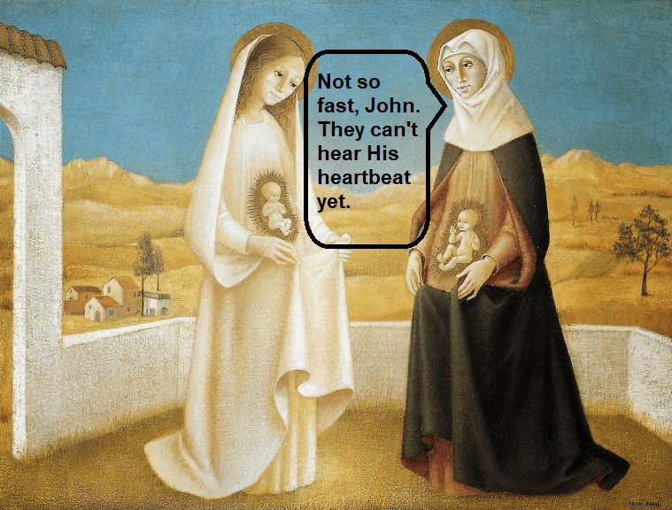 Abortion heartbeat bill explained by Mary to both Elizabeth and fetal John the Baptist...