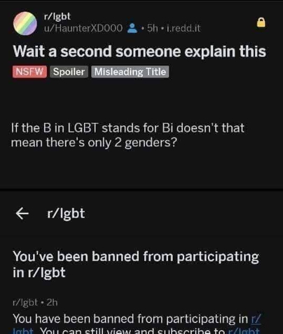 Chistian banned on Reddit: LGBT, doesn't the B stand for bi-sexual, mean two genders? Reply: You're banned.