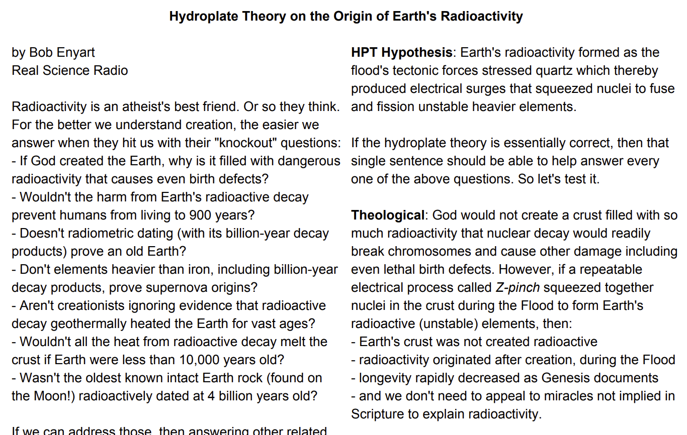 Bob Enyart's newsletter article: HPT on the Origin of Earth's Radioactivity