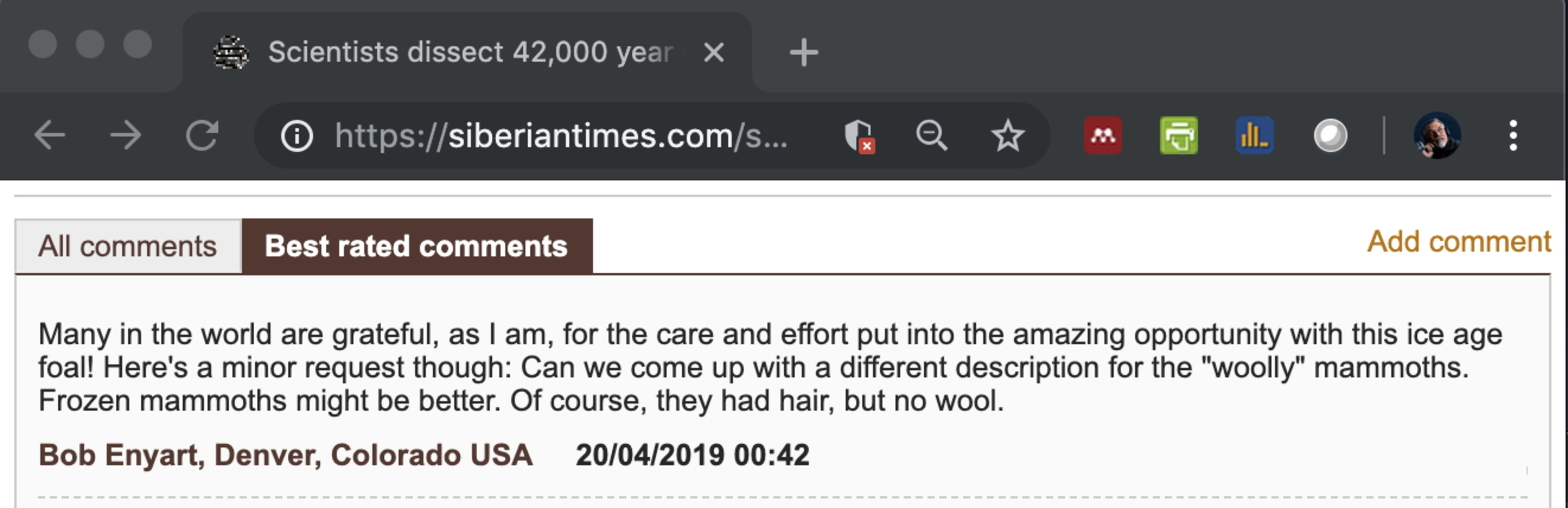 Enyart's comment on no-wool mammoths...