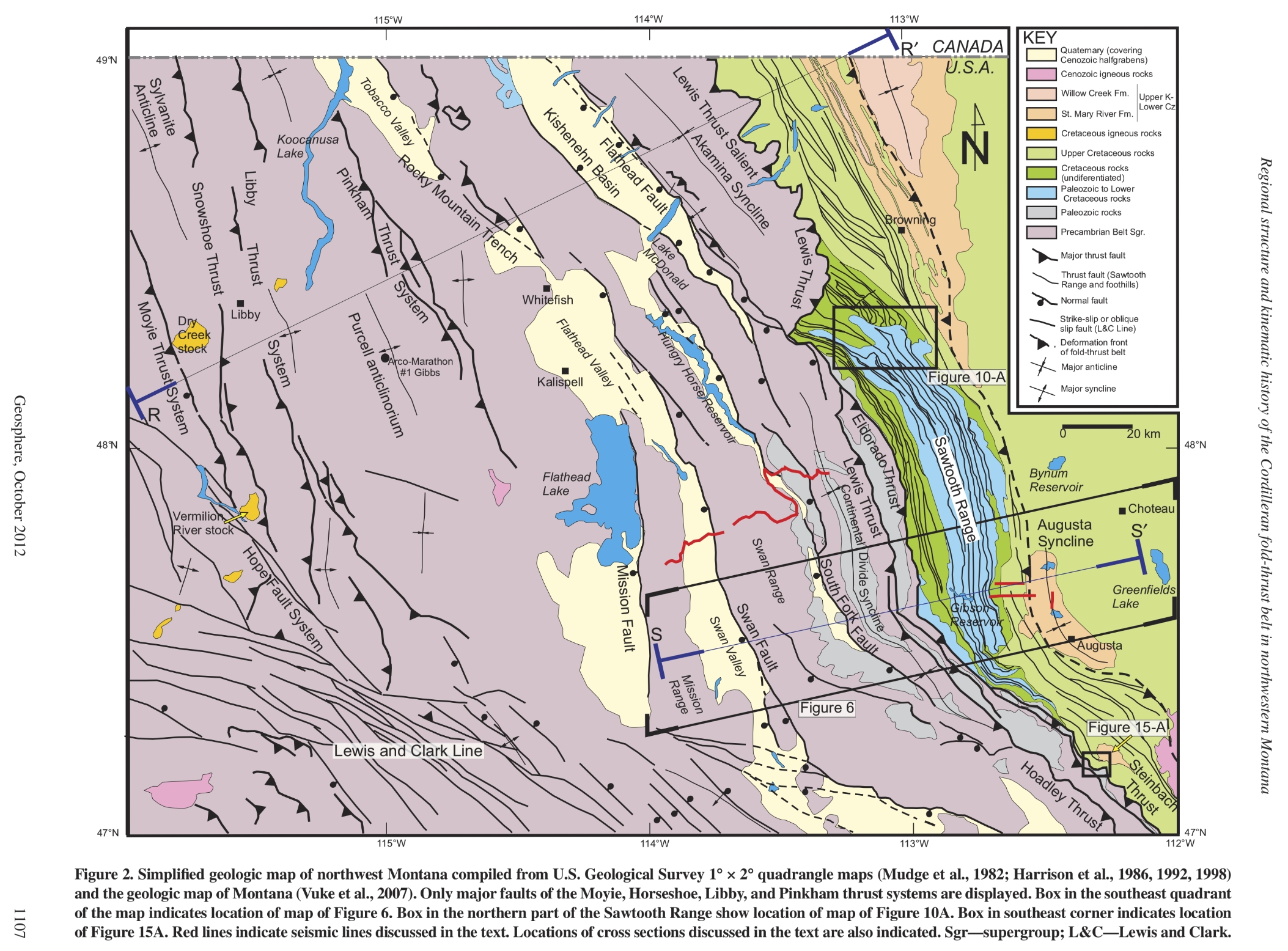 Northwest Montana thrust belt map, Geosphere, 2012