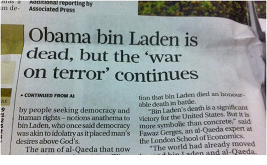 Obama is Dead headline in the South China Morning Post