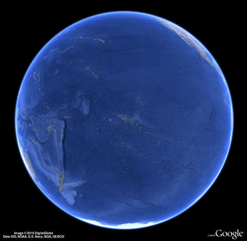 Pacific global view of the Earth, almost all water!