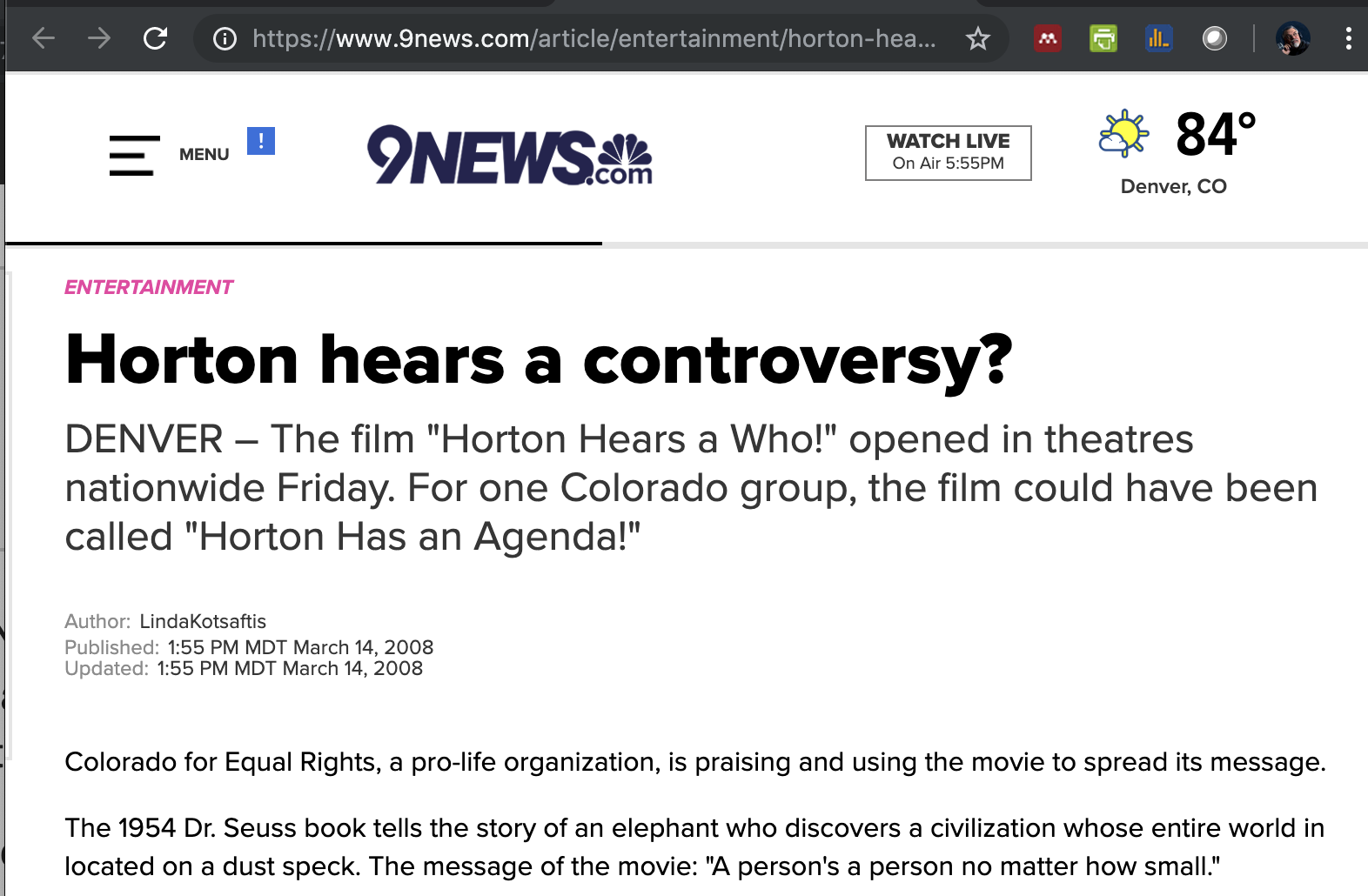 Denver's NBC affilate 9News reports on the personhood event at the Horton Hears a Who premier...