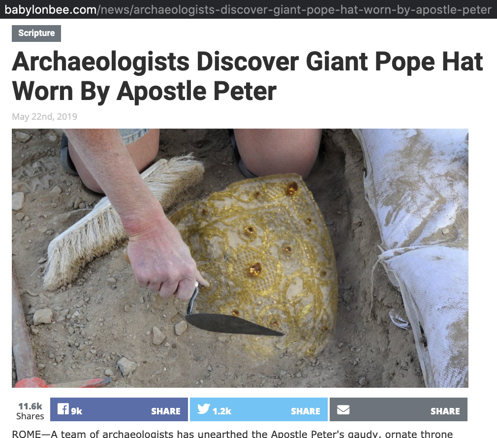 Apostle Peter's Pope Hat Unearthed: screenshot of fake news story from the Babylon Bee