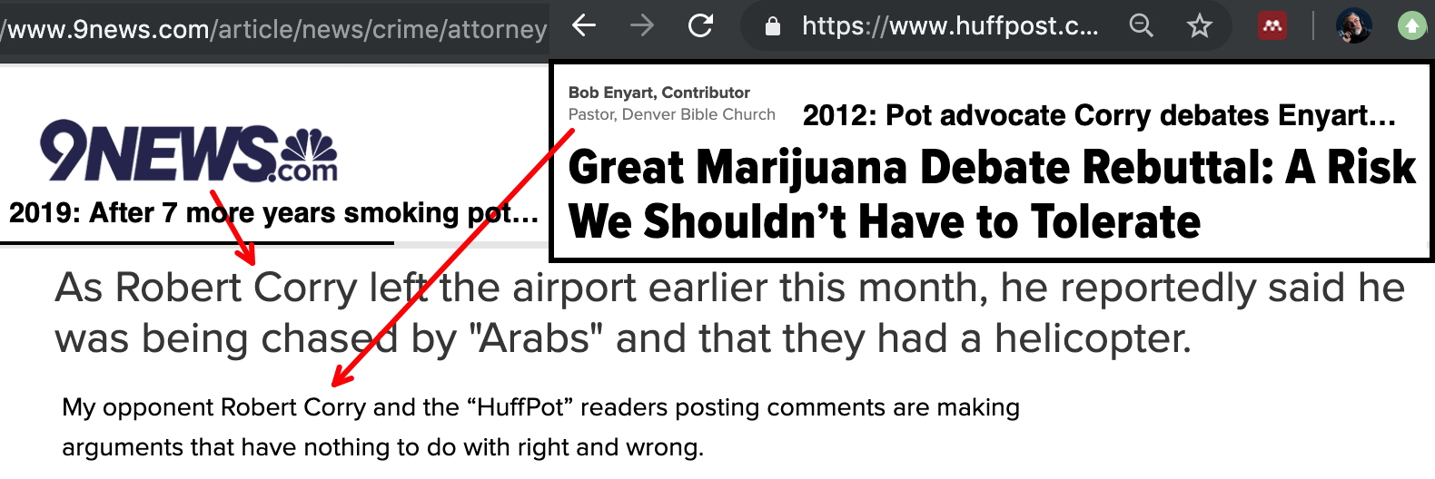9News & HuffPo Headlines: Pot atty who debated Bob Enyart goes nuts