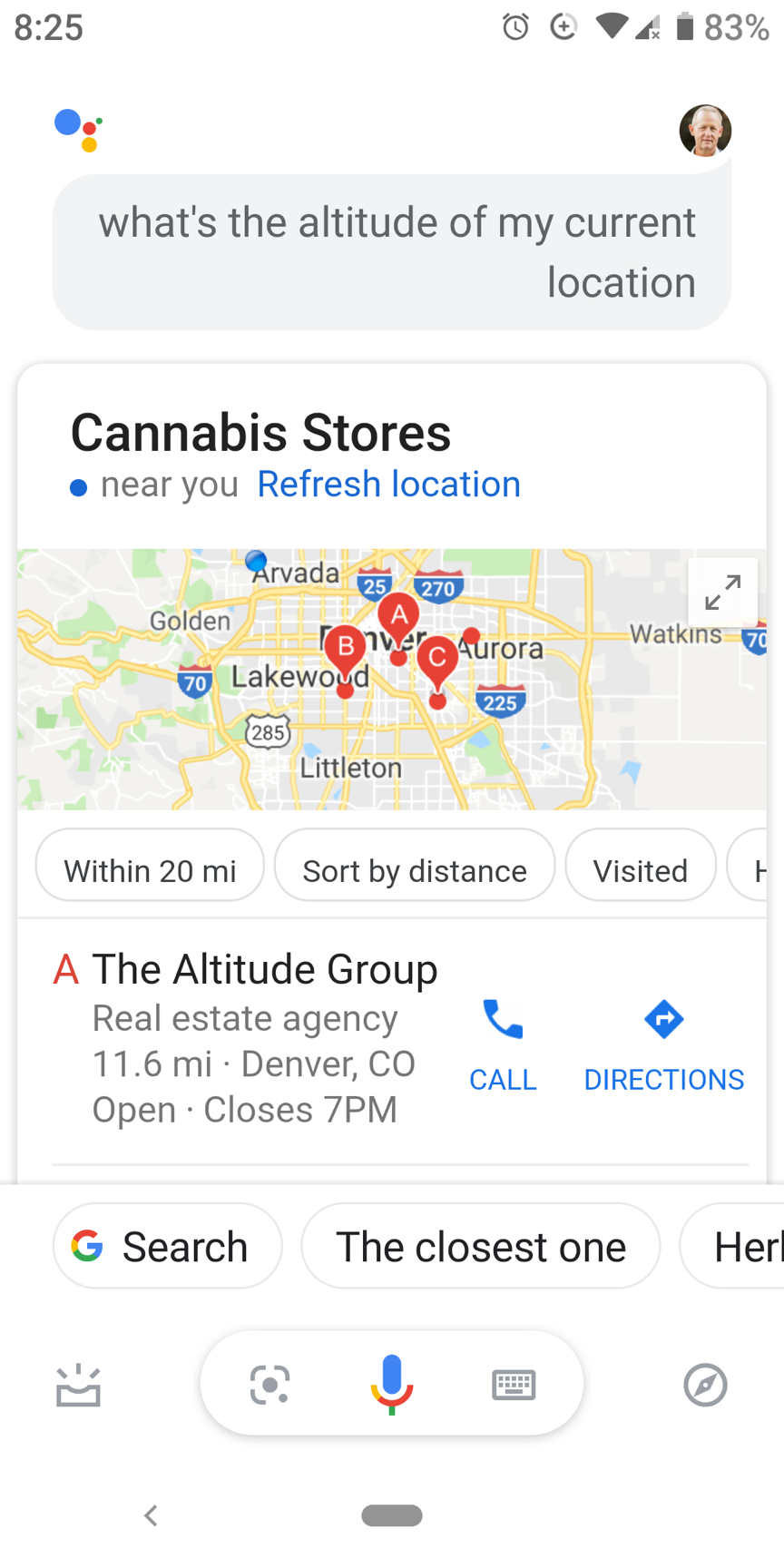 In Colorado, even Google is high. Screenshot of a Google query: What's the altitude of my current location? A: Cannabis stores near you...