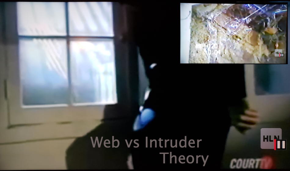 Web vs Intruder: Ramsey crime scene photo of cobweb superimposed over Lou Smit climbing through window