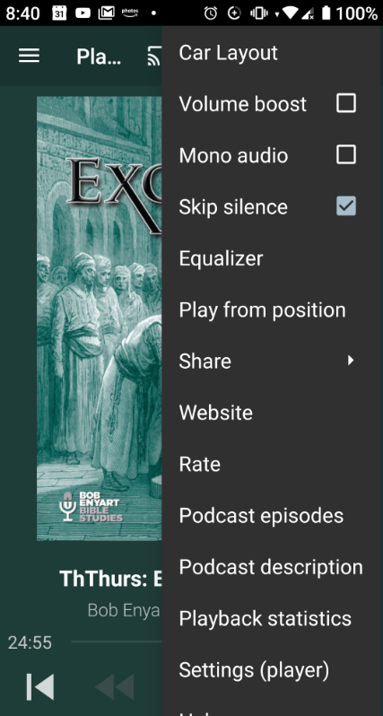 If the audio seems choppy and slammed togther, check your podcast settings and uncheck Skip Silence