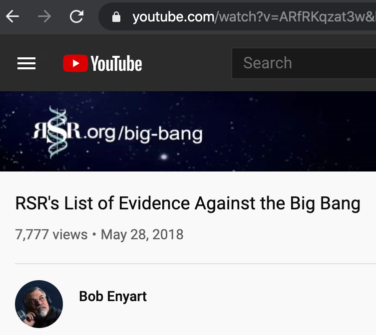 RSR's 7,777 YouTube views for our big bang video...