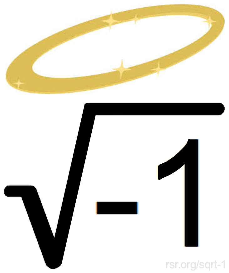 Mathematical symbol for the square root of negative one with a halo over it :)