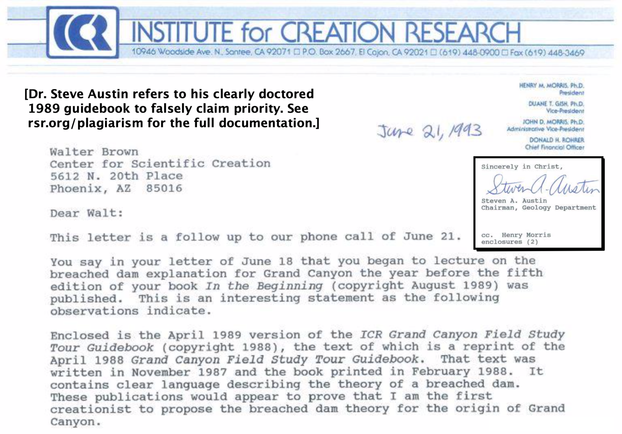 ICR geologist Steve Austin referring to his (clearly doctored) 1989 guidebook to claim priority...
