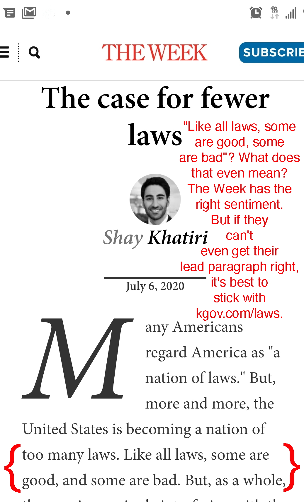 The Week article, The Case for Fewer Laws, 2020 screenshot