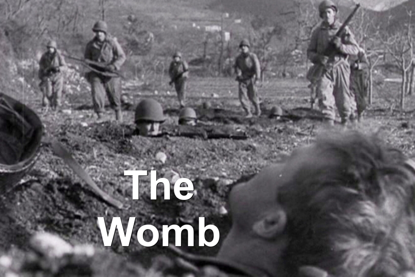 A WWII battlefield labeled, The Womb.