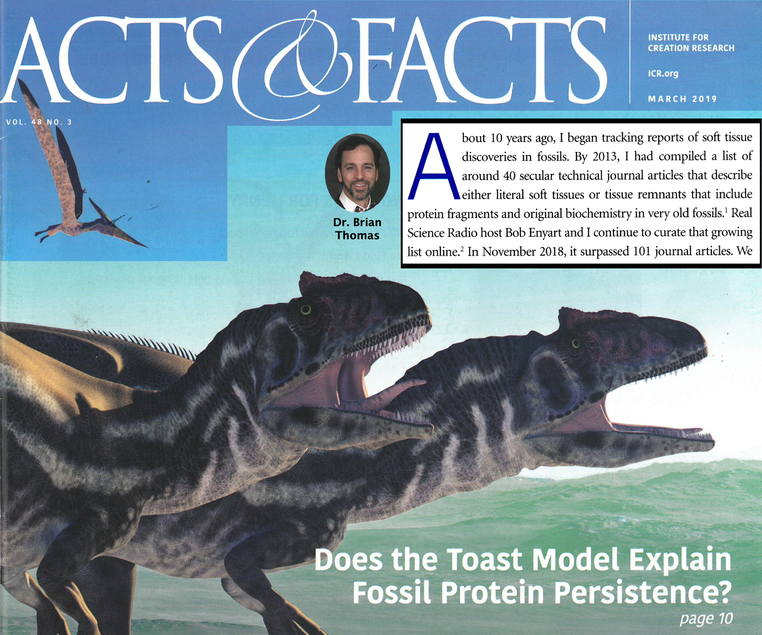 March 2019 cover of Acts & Facts with Brian Thomas' soft tissue article excerpted...