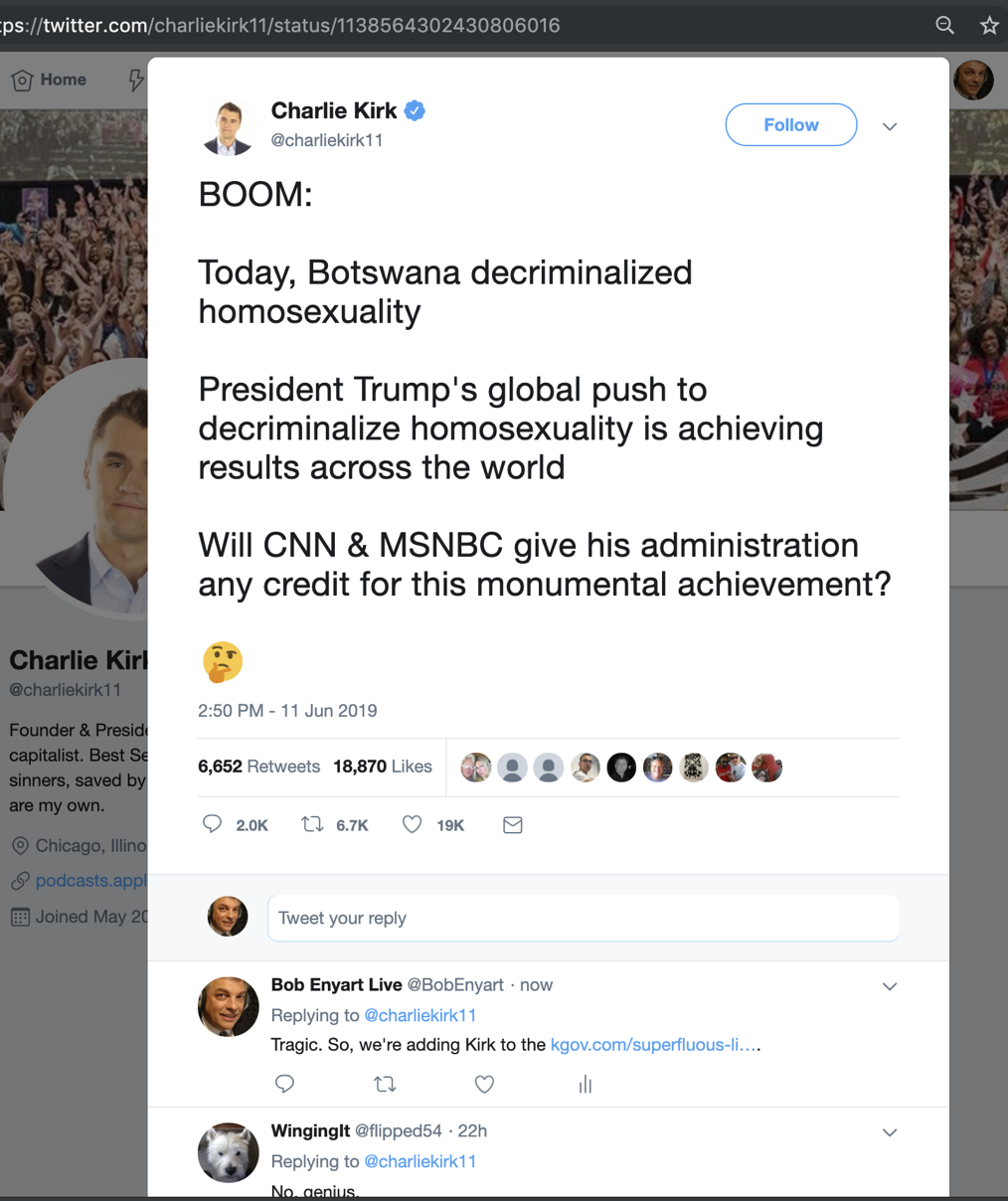 Tweet from TPUSA Charlie Kirk praising Trump for promoting homosexuality worldwide
